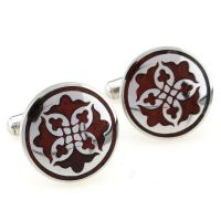 Cufflinks - silver-plated - a circular ornate