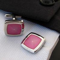 Cufflinks - silver-plated - pink circular