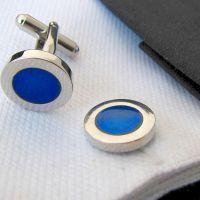 laobotou Cufflinks - silver-plated - blue circular