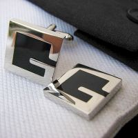laobotou Cufflinks - letter G - silver-plated