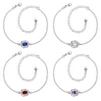 Anklet chain with cubic zirconia stone