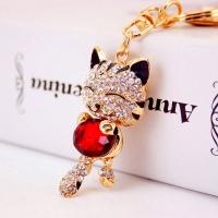 Cat key chain - studded with Rhine stone