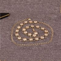 Waist belt - shaped flowers - studded with crystals