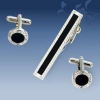 Sete (cufflinks, tie clip) - silver-plated - circular