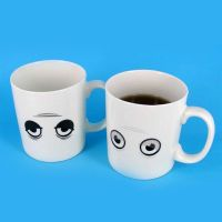 Thermal ceramic cup color Thermoforming change  shaped eyes