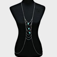 Body thin chains with turquoise - silver-plated