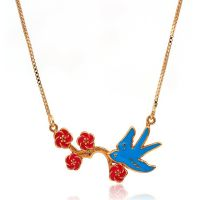 Birds and flowers necklace - gold-plated - for girls