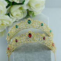 Ruby crown of the bride - studded with Rhine stone