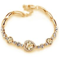 Bracelet heart of love - studded with crystals - gold plated