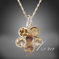 Flower necklace - gold-plated - studded with Austrian crystals