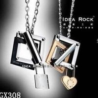 Heart Necklace and lock - stainless steel - for lovers