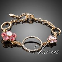 Two flower bracelet - 18 K Gold Plated  - studded with Austrian crystals