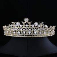 Wedding crown - gold-plated - studded with crystals - Stylish design