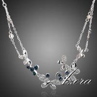 Azora necklace platinum plated studded with Austrian crystals - Butterfly
