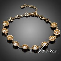 Bracelets azora painted with gold inlaid with 18 kilos 5 Austrian crystal pieces