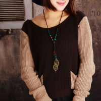Thailand s elegant wooden jewelry - feather necklace