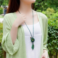 Long Necklace - Green Beads