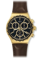 Swatch 2017: Men's Irony V'DOME Black Dial Brown Leather Strap Chronograph Watch YVG401
