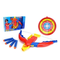 Archery game for children with bow and arrows sticking to the suction system