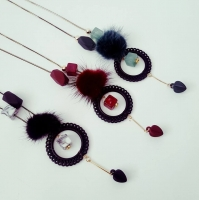 Fur and loop necklace