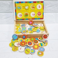 Box wooden games 64 pieces