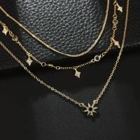 Sun necklace triple layer