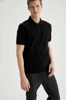 Polo-neck basic T-shirt in a regular fit