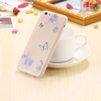 Cover transparent plastic glittery Rose with butterfly
