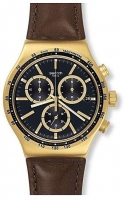 Swatch Men s Irony V DOME Black Dial Brown Leather Strap Chronograph Watch YVG401