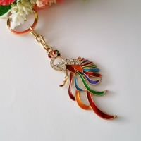 KeyChain - the parrot - studded with Rhine stone