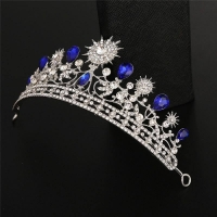 Luxurious wedding Crown-  studded with crystals Blue