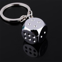 The dice keychain -  silver-plated
