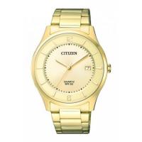 Citizen Mens Gold Stainless Steel Quartz Date Watch