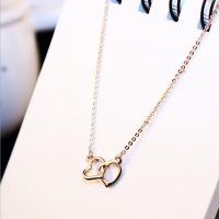 Thin necklace _ two hearts