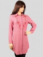 Women s long shirt with  rose   pattern