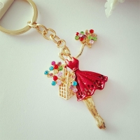 Painted keys chain gold 18 studded with rhinestones and crystal stones - saleswoman roses