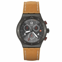 Swatch Men s YVZ400 Brown Leather Swiss Quartz Watch