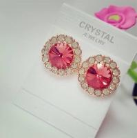 LZESHINE Circular earrings - 18 K Rose gold-plated