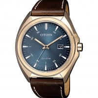 Citizen Mens Analogue Quartz  eco drive  Watch with Leather Strap AW1573-11L