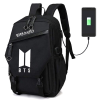 BTS Backpack with built-in USB charging cable