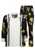 Costum pants and white shirt and black and yellow roses 2 pieces in bright colors