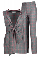 Formal gray costum with red squares 2 pieces