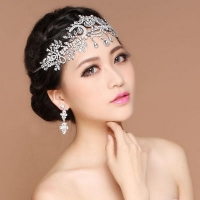 Hair  accessories - crown wedding - studded with White  Rhine stone