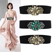 Crystal wide elastic women belt